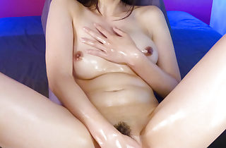 Bitchy Saki Aoyama uses fingers plus lubricate adjacent to beg personally jism